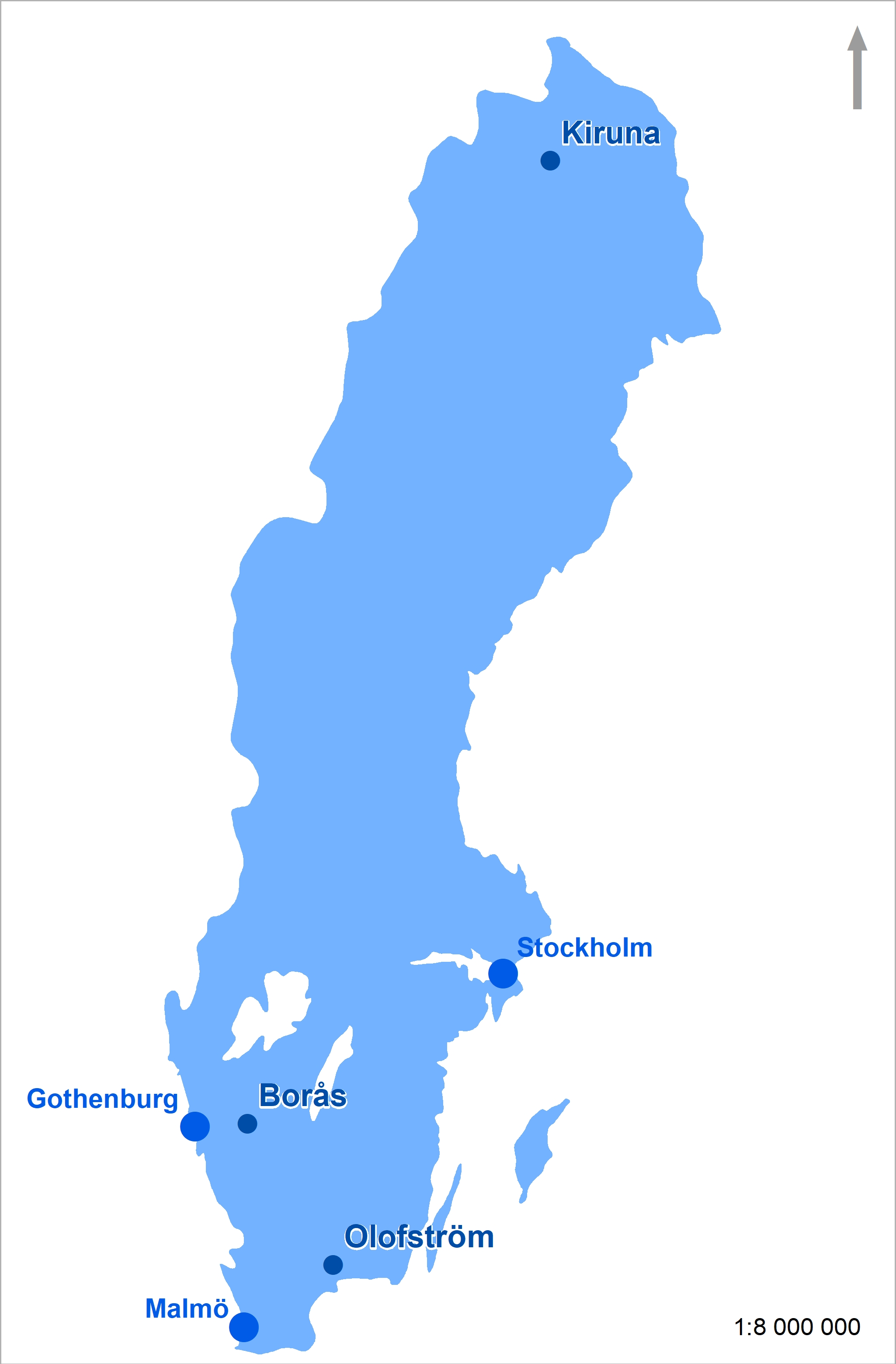 Figure 1: Major cities and location of case studies in Sweden (Source: Linda Stihl)