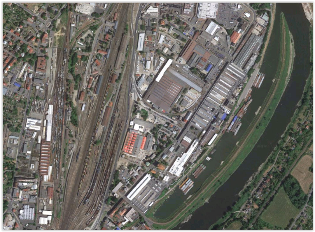 Picture 1: Industrial area connecting railway and water transport (source: maps.google.com)