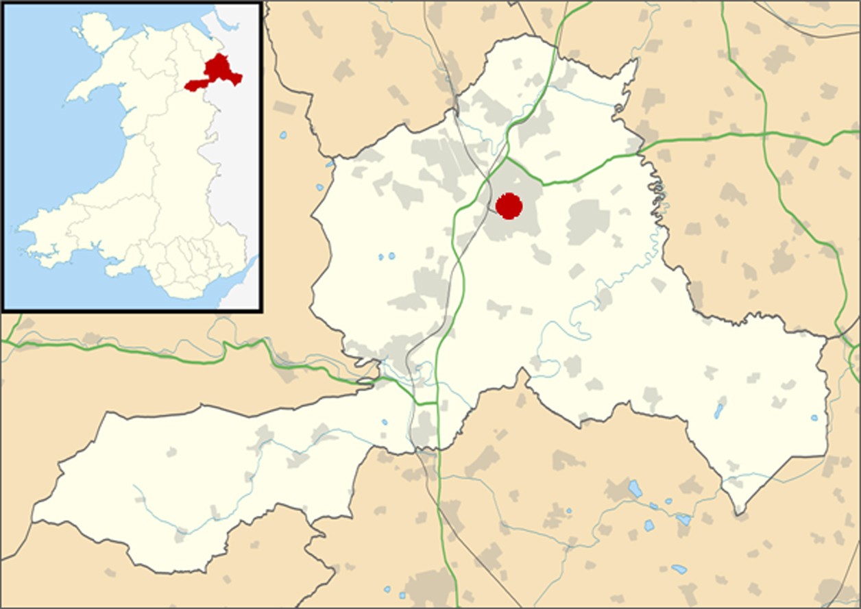Image 1: Map of Wrexham County Borough and Wrexham town (source: Wikipedia)